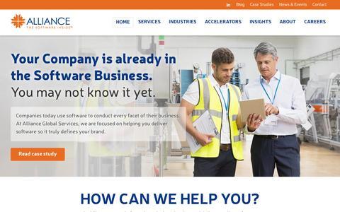 Screenshot of Home Page allianceglobalservices.com - Alliance Global Services - captured Nov. 3, 2015