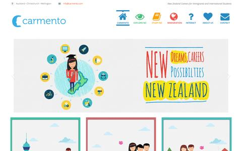 Screenshot of Home Page carmento.com - Carmento | NZ careers for Immigrants and International Students - captured Sept. 26, 2014
