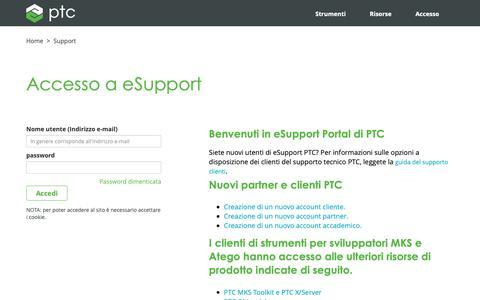 Screenshot of Support Page ptc.com - Accesso a eSupport  | PTC - captured Nov. 13, 2018