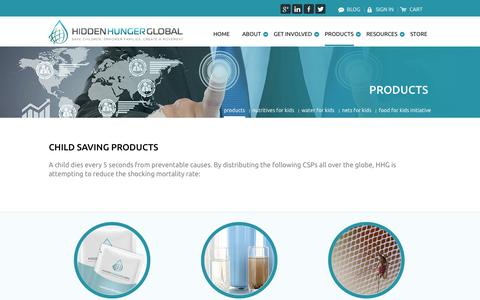 Screenshot of Products Page hiddenhungerglobal.com - Products     Hidden Hunger Global - captured Oct. 2, 2014