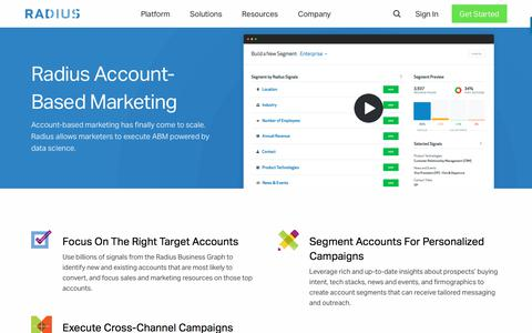 Predictive B2B Marketing Software & Analytics • Radius • Account-Based Marketing