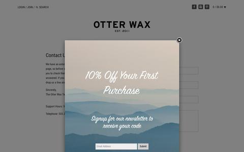 Screenshot of Contact Page otterwax.com - Contact Us – Otter Wax - captured Oct. 20, 2018
