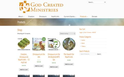 Screenshot of Products Page godcre8dministries.com - Products «  God Created Ministries - captured Dec. 11, 2015