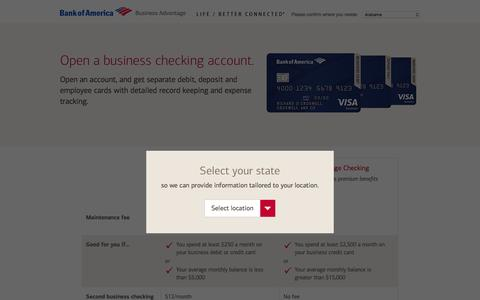 Screenshot of bankofamerica.com - Business Checking | Bank of America - captured April 24, 2018