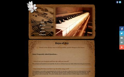 Screenshot of FAQ Page keysofjoy.net - Keys Of Joy | Frequently Asked Questions - captured Sept. 30, 2014