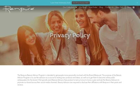 Screenshot of Privacy Page renpure.com - Privacy Policy - Renpure - captured Nov. 30, 2016
