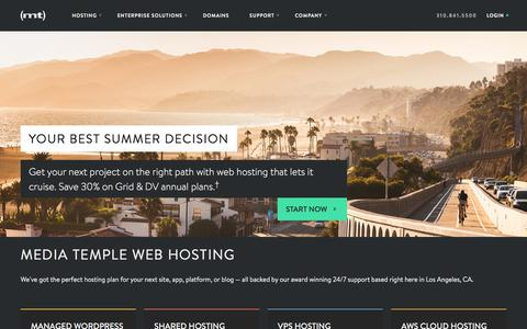 Screenshot of Home Page mediatemple.net - Web Hosting | Reliable Hosting Services | Media Temple - captured July 29, 2018