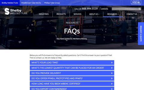 Screenshot of FAQ Page shelbytube.com - Frequently Asked Questions | Shelby Welded Tube - captured Jan. 24, 2017