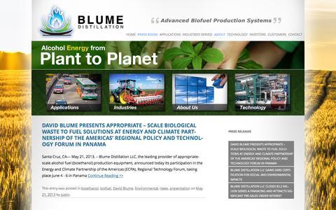 Screenshot of Press Page blumedistillation.com - Press Room   BLUME DISTILLATION - captured Sept. 13, 2014