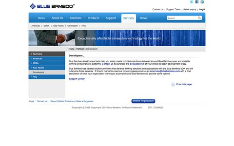 Screenshot of Developers Page bluebamboo.com - Blue Bamboo - Exceptionally affordable transaction technology for the world (PocketPOS™ P200, P25 Printer, H50A Terminal etc.) - captured Aug. 2, 2018
