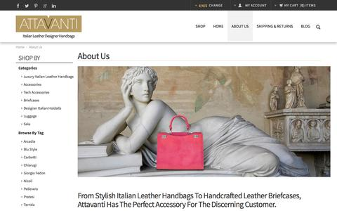 Screenshot of About Page attavanti.com - Our Italian Leather Designer Brands | Attavanti - captured Nov. 2, 2014