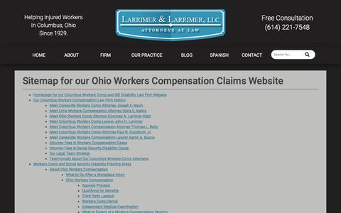 Screenshot of Site Map Page larrimer.com - Workers Compensation Claims in Ohio Website Sitemap - captured July 15, 2017