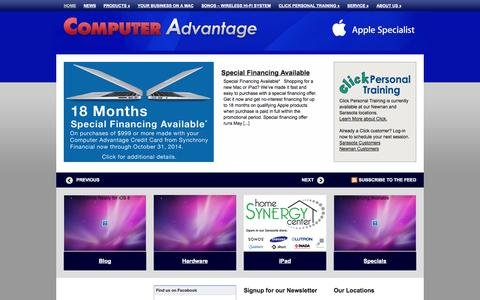 Screenshot of Home Page computeradvantage.us - Computer Advantage | Apple Specialist | Sarasota, FL, Newnan, GA, Savannah, GA | iMac, MacBook, MacBook Pro, iPad, iPod, Mac - captured Oct. 2, 2014