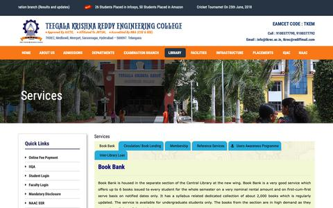 Screenshot of Services Page tkrec.ac.in - Services – Teegala Krishna Reddy Engineering College - captured Nov. 11, 2018