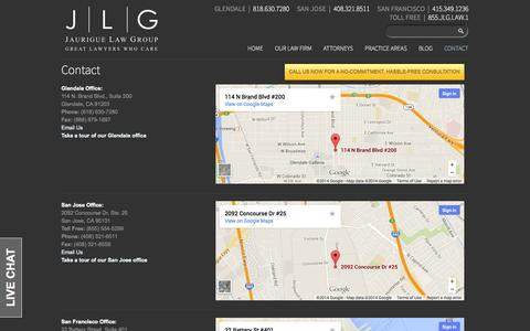 Screenshot of Contact Page jlglawyers.com - Contact - Jaurigue Law Group - captured Oct. 6, 2014