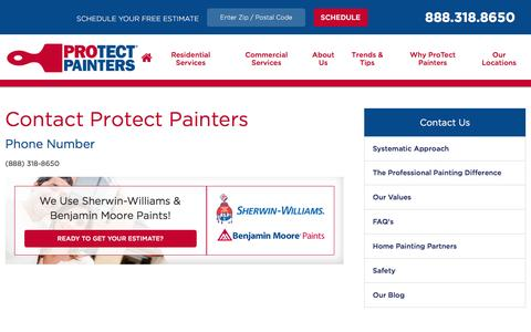 Screenshot of Contact Page protectpainters.com - Contact Us | Protect Painters - captured Dec. 14, 2015