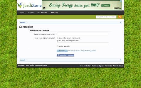 Screenshot of Login Page jardizone.be - Connexion   JardiZone - captured Sept. 30, 2014