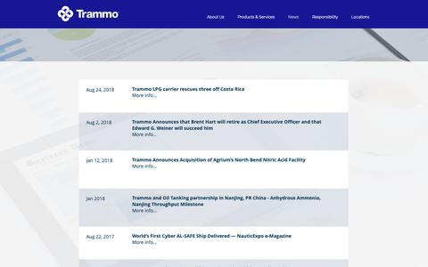 Screenshot of Press Page trammo.com - Trammo | News - captured May 30, 2019
