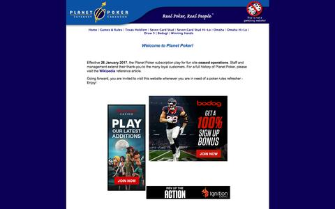 Planet Poker - The world's first online poker site