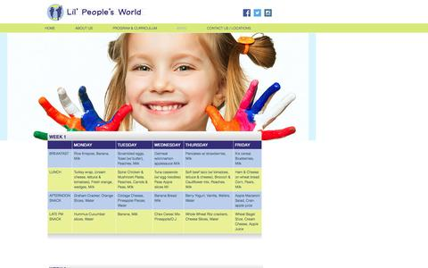 Screenshot of Menu Page lilpeoplesworld.com - Lil' People's World   Before and After School Child care - captured Oct. 9, 2016