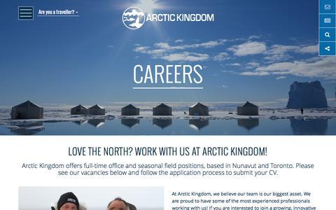 Screenshot of Jobs Page arctickingdom.com - Outdoor Adventure & Office Jobs   Arctic Kingdom - captured May 30, 2017