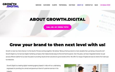Screenshot of About Page growth.digital - About Us - Growth Dot Digital - A full-service Digital Marketing Agency - captured July 17, 2018