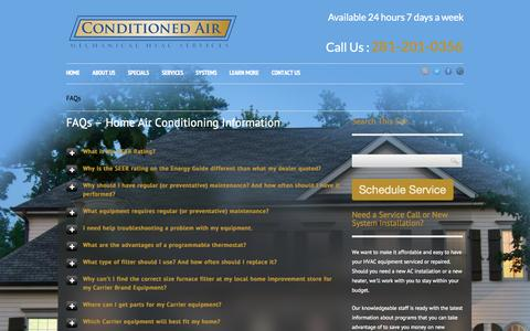 Screenshot of FAQ Page conditionedairtx.com - FAQs - Home Air Conditioning Information Sugarland, TX - captured Oct. 1, 2014
