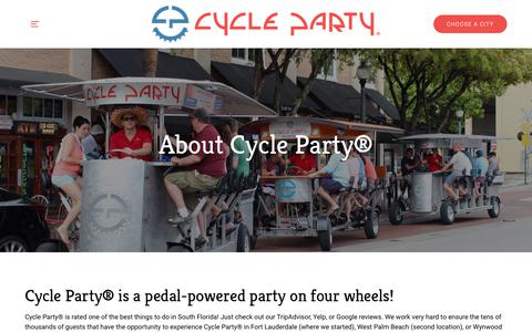 Screenshot of About Page cycleparty.com - About Us | Cycle Party - captured Nov. 20, 2018