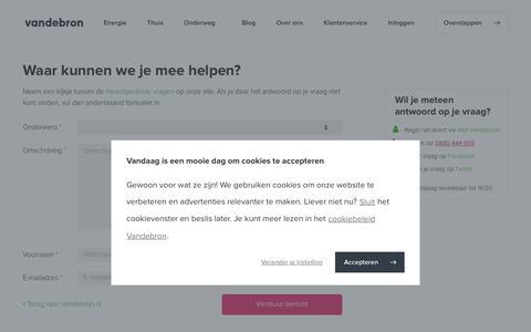 Screenshot of Contact Page vandebron.nl - Duurzame energie van Nederlandse bodem - Vandebron - captured July 14, 2019