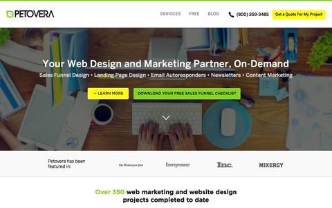 Screenshot of Home Page petovera.com - Professional Web Development, Fast App Creation, Innovative Design test - captured July 20, 2015