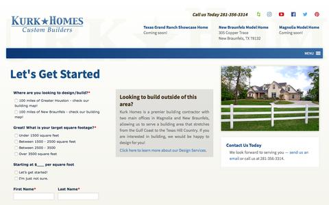 Screenshot of Pricing Page kurkhomes.com - Let's Get Started | Kurk Homes - captured Sept. 20, 2018