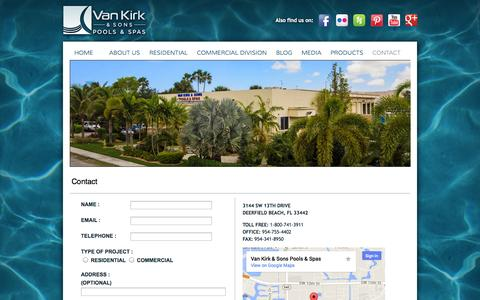 Screenshot of Contact Page vankirkpools.com - Contact - captured Oct. 7, 2014
