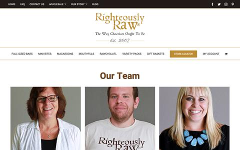 Screenshot of Team Page righteouslyrawchocolate.com - Our Team | Organic Raw Chocolates | Righteously Raw™ - captured July 12, 2017
