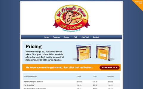 Screenshot of Pricing Page dinermonkey.com - Welcome to DinerMonkey - captured Oct. 5, 2014