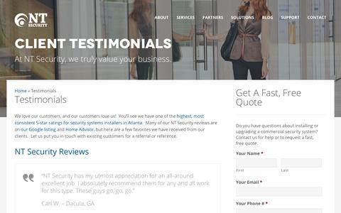 Screenshot of Testimonials Page ntsecurityllc.com - Customer Testimonials & Reviews of NT Security LLC, Atlanta GA - captured Feb. 2, 2020