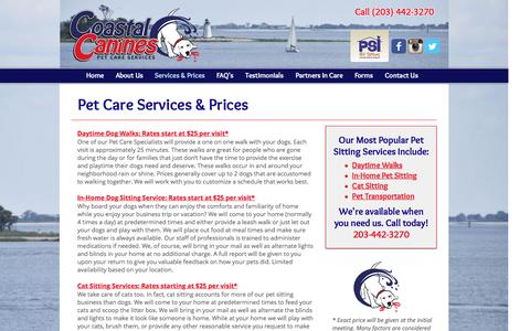 Screenshot of Pricing Page coastalcanines.com - Pet Care & Dog Walking Services and Prices - captured Nov. 8, 2016