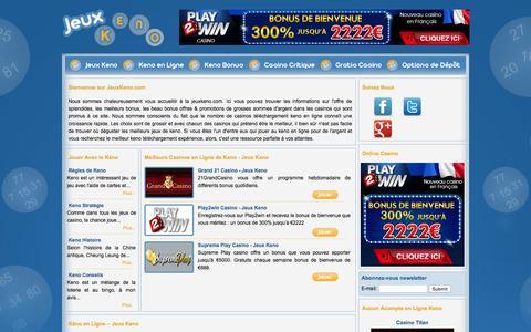Screenshot of Home Page jeuxkeno.com - Keno - Jeux de Keno en Ligne- Jeux Keno - captured Sept. 12, 2015