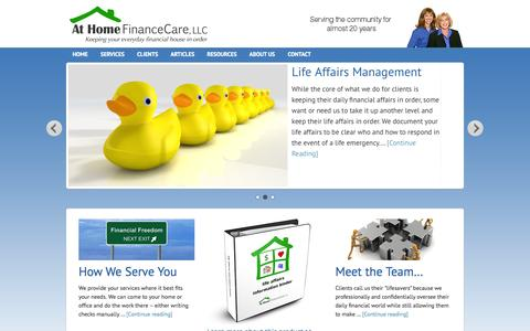 Screenshot of Home Page homefinancecare.com - At Home FinanceCare — Keeping Your Financial House in Order - captured Oct. 4, 2014