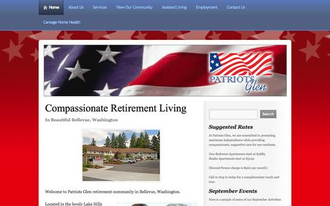 Screenshot of Home Page patriotsglen.net - Assisted Living, Senior Living, Memory Care, Bellevue WA - captured Oct. 2, 2014
