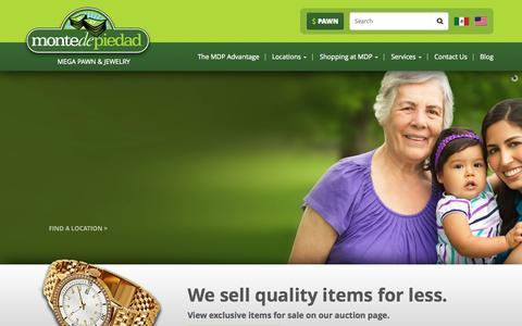 Screenshot of Home Page montedepiedad.com - Pawn Shop San Diego | Monte de Piedad - captured Jan. 22, 2015