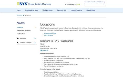 Screenshot of Locations Page tsys.com - TSYS Locations and Corporate Headquarters Driving Directions - captured Nov. 23, 2015