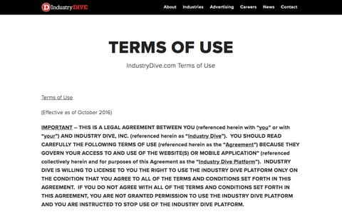 Screenshot of Terms Page industrydive.com - Terms of Use - Industry Dive - captured Nov. 15, 2017