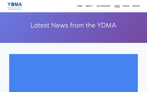 Screenshot of Blog Press Page ydma.org - Latest News from the YDMA – Young Democrats of Massachusetts - captured July 4, 2018