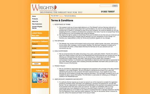 Screenshot of Terms Page wrights-dairies.co.uk - Terms & Conditions :: Wrights Dairies - captured June 18, 2017