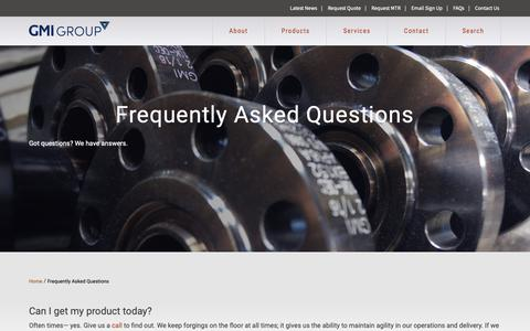 Screenshot of FAQ Page gmigroup.com - Frequently Asked Questions | GMI Group - captured Sept. 29, 2018