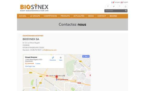 Screenshot of Contact Page biosynex.com - Contacter Biosynex – Biosynex Group - captured May 29, 2017