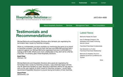 Screenshot of Testimonials Page franchisenegotiation.com - Testimonials and Recommendations   Hospitality Solutions, LLC - captured Oct. 3, 2014