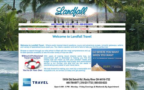 Screenshot of Home Page landfalltravel.com - Landfall Travel - an American Express Travel Representative in Rocky River, OH - captured Oct. 1, 2014