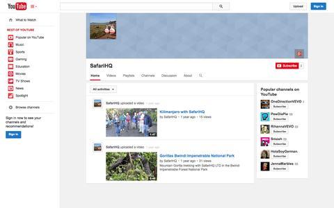 Screenshot of YouTube Page youtube.com - SafariHQ  - YouTube - captured Oct. 23, 2014