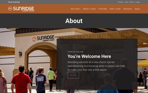 Screenshot of About Page sunridgechurch.org - About Sunridge Community Church - Your Temecula Christian Church - captured Oct. 18, 2018